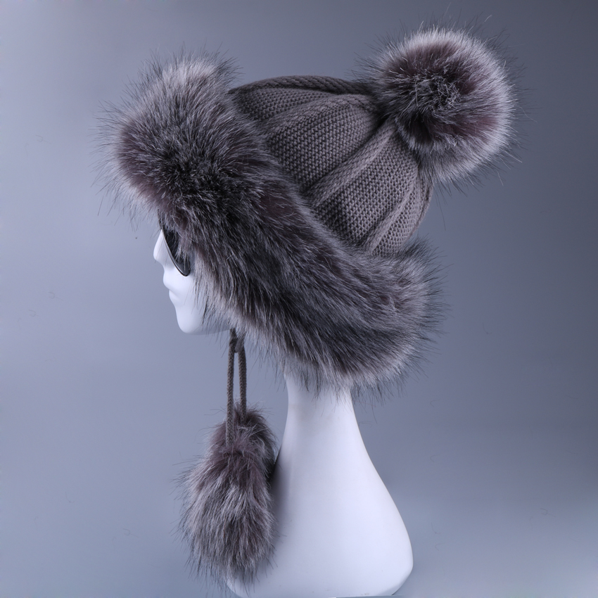 Women Ushanka Faux Fox Fur Pompom Winter Russain Cossack Outdoor Earflap Wool Knitted Snow Ski Cap Fleece Bomber Trapper Hat