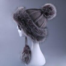 Women Ushanka Faux Fox Fur Pompom Winter Russain Cossack Outdoor Earflap Wool Knitted Snow Ski Cap Fleece Bomber Trapper Hat