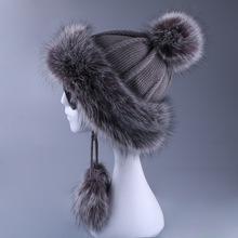Women Ushanka Faux Fox Fur Pompom Winter Russain Cossack Outdoor Earflap Wool Knitted Snow Ski Cap F
