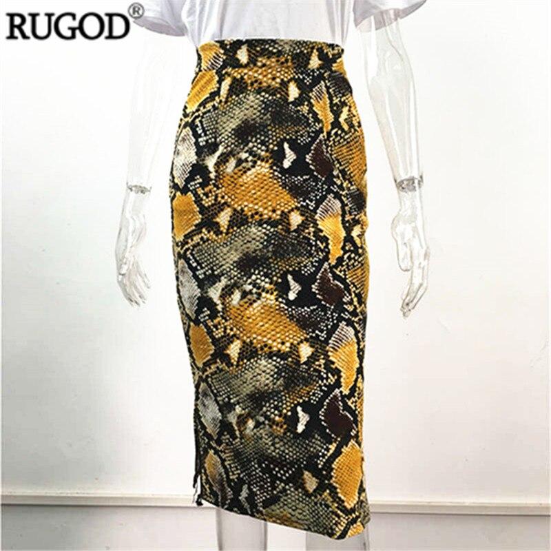 RUGOD New Multi Color Leopard Printed Skirt Women Fashion High Waist Midi Pencil Skirt Saia 2019 Summer Jupe Skirt Plus Size