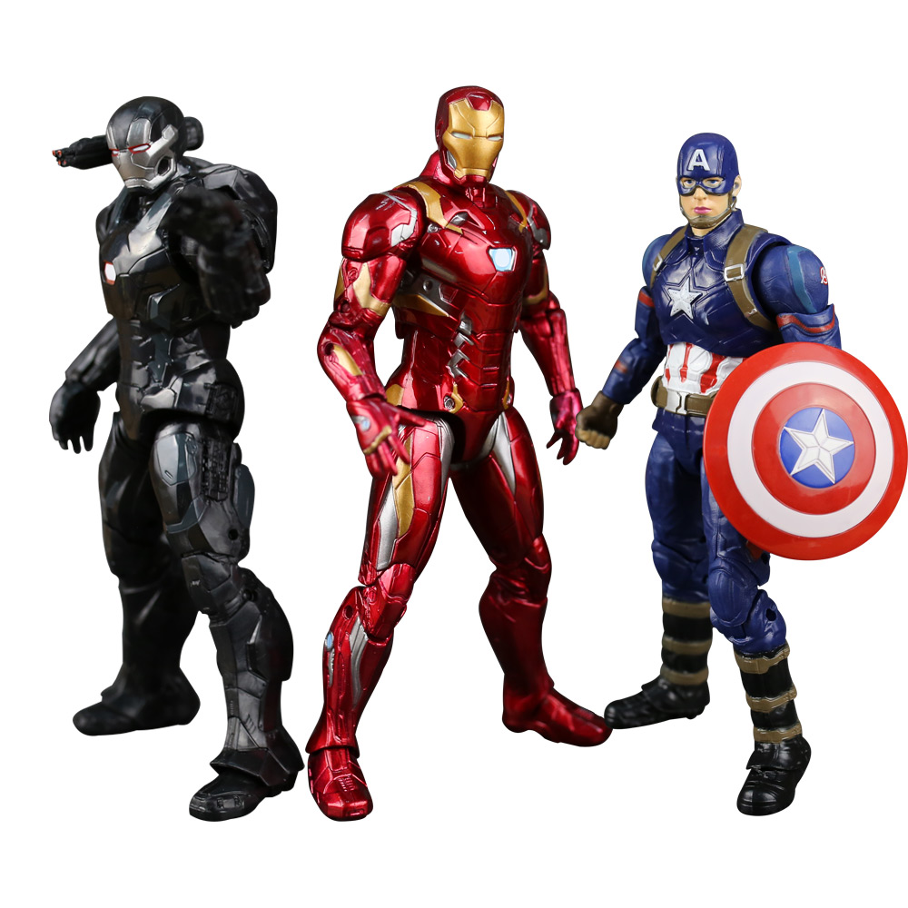 The Avengers super hero Captain America Civil Clint Iron Man Tony Stark Cartoon Toy PVC Action Figure Model Gift statue avengers captain america 3 civil war iron man tony stark 1 2 bust mk33 half length photo or portrait with led light w216