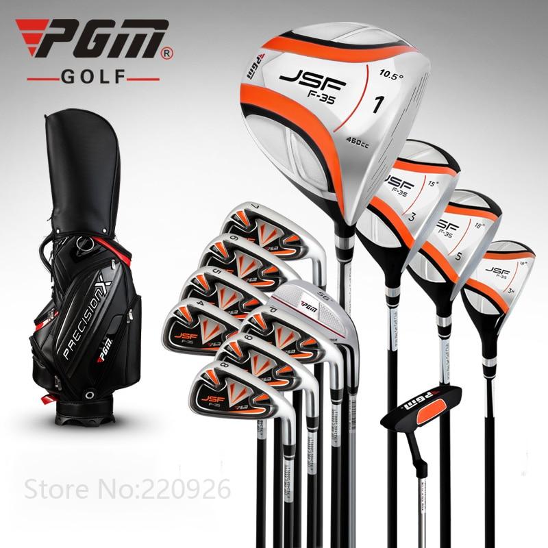 PGM -JSF Golf Men's Cue Kit Complete Golf 13Clubs Set PU Golf Standard Bag Right Driver 2Wood Hybird  8Irons Putter Head Covers