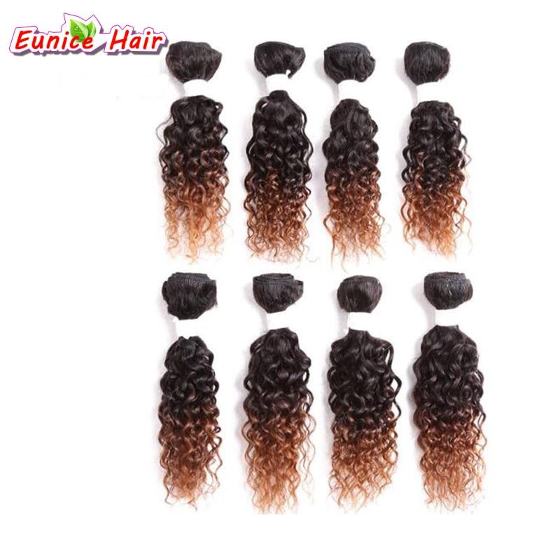 8 unidades/pacote Louro Encaracolado Kinky Brasileira Ombre tecer cabelo curto Tecer Molhado E Ondulado Ombre Crespos Tecer Cabelo de crochê crochê cabelo