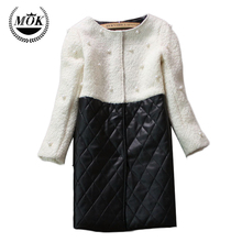 2016 Design Warm Fashion Patchwork Slim Thin Beaded Long Section of Stitching Padded Female Parkas