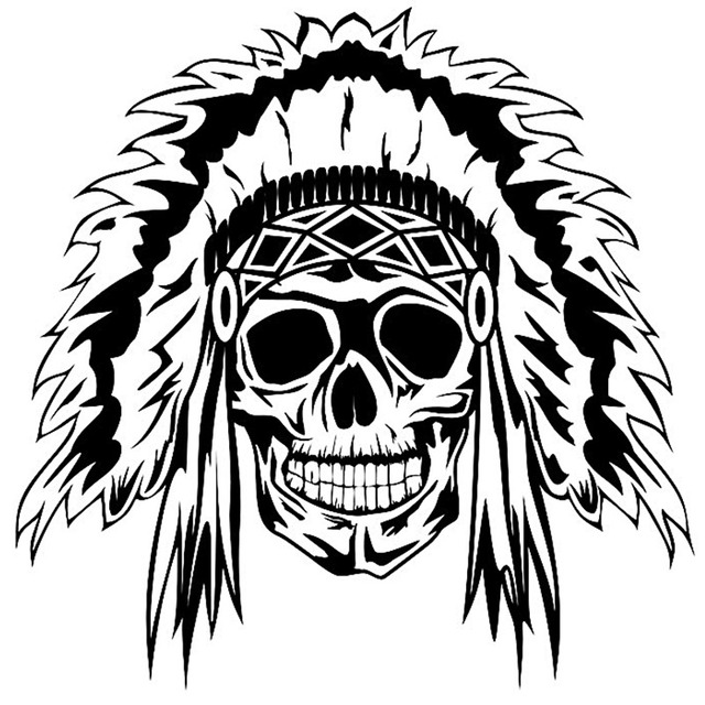 Dctal skull indian cacique sticker punk death decal horror halloween devil poster name car window art