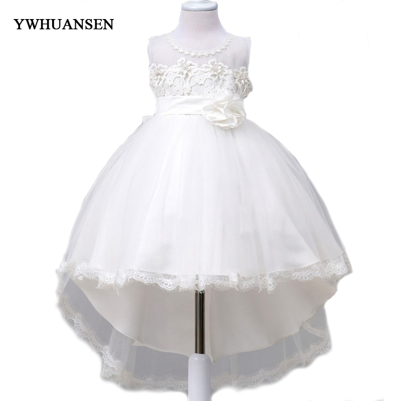 YWHUANSEN 2017 New Tail Kids Graduation Gown Flower Party Child Dress Evening Dress Children's Clothing Ball Gowns For Children 4pcs new for ball uff bes m18mg noc80b s04g