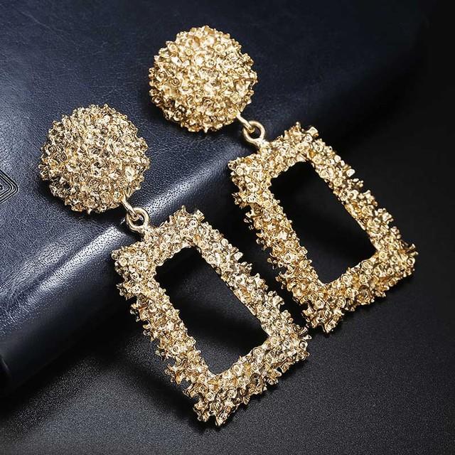 Women Gold Color Earring Metal Earring Hanging Fashion Jewelry
