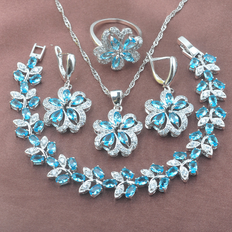 Женский комплект ювелирных изделий Небесно-Голубой кубический цирконий серебряный цвет свадебный ювелирный браслет ожерелье кулон серьги кольцо Топ подарок YZ0531