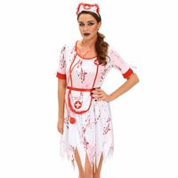 FGirl Cosplay Costume Sexy Halloween Costumes For Women 3pcs Horrible Zombie Nurse Costume FG41634