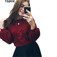 TAOVK 2016 New Fashion Russian Style Women S Lantern Puff Short Paragraph Knit Sweaters
