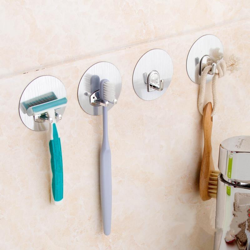 2pcs Toothbrush Holder Seamless Magic Stick Glue Stick Hook Wall Hook Organizer Kitchen Bathroom