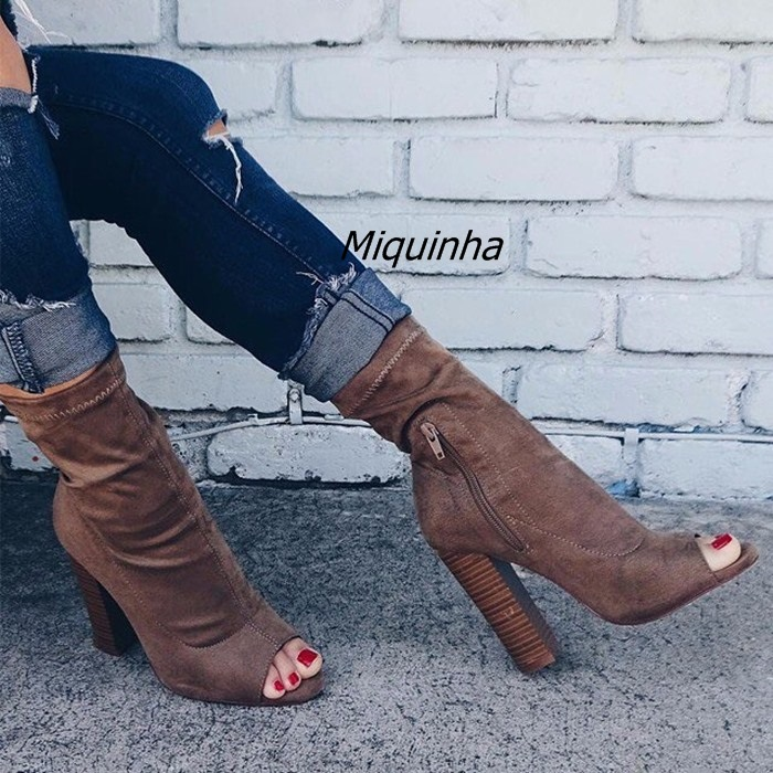 New Summer Fashion Block Heel Ankle Boots Brown Stretch Fabric Peep Toe Chunky Heel Sandal Booties Women Trendy Sandals New