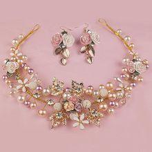 Tiara de noiva com cristal, cor dourada artesanal flor, pérola para casamento, acessórios para noiva