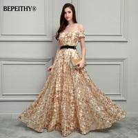 BEPEITHY זהב תחרה ארוכה שמלות ערב Vestidos דה Festa Vestido לונגו 2017 קצרים שרוולים סקסי לנשף שמלות עם חגורה