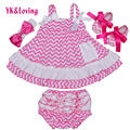 Wave Print Sling Swing Dress Pink Sleeveless Baby Girls Clothes Outfit 4 Pcs Summer Style Infant Princess Dress with Ruffle  Yi