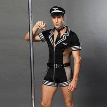 JSY dorosłych mężczyzn ubrania na seks erotyczne kostiumy seksowna bielizna role playing policjant kostium męska czarny poliester clubwear 6609