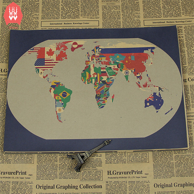 A Map Of The World Poster Map Banner Wall Stickers Topographic Map