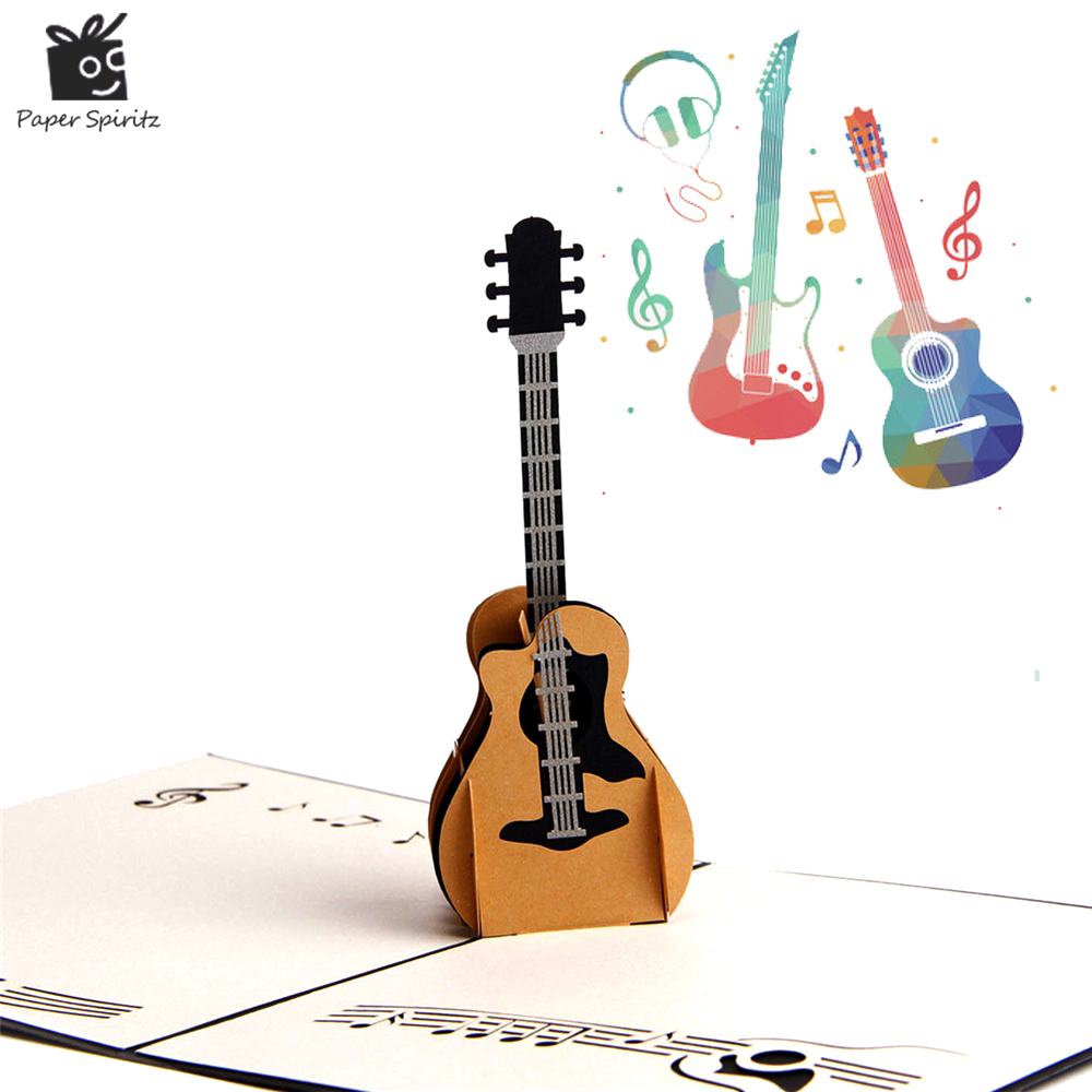 3D Pop Up Laser Cut Vintage Cards Guitar Postcards Happy Birthday Greeting Cards Thank You Cards for Lover Teacher Souvenir 3d pop up paper laser cut greeting cards creative handmade cake birthday postcards for lover thank you cards h06