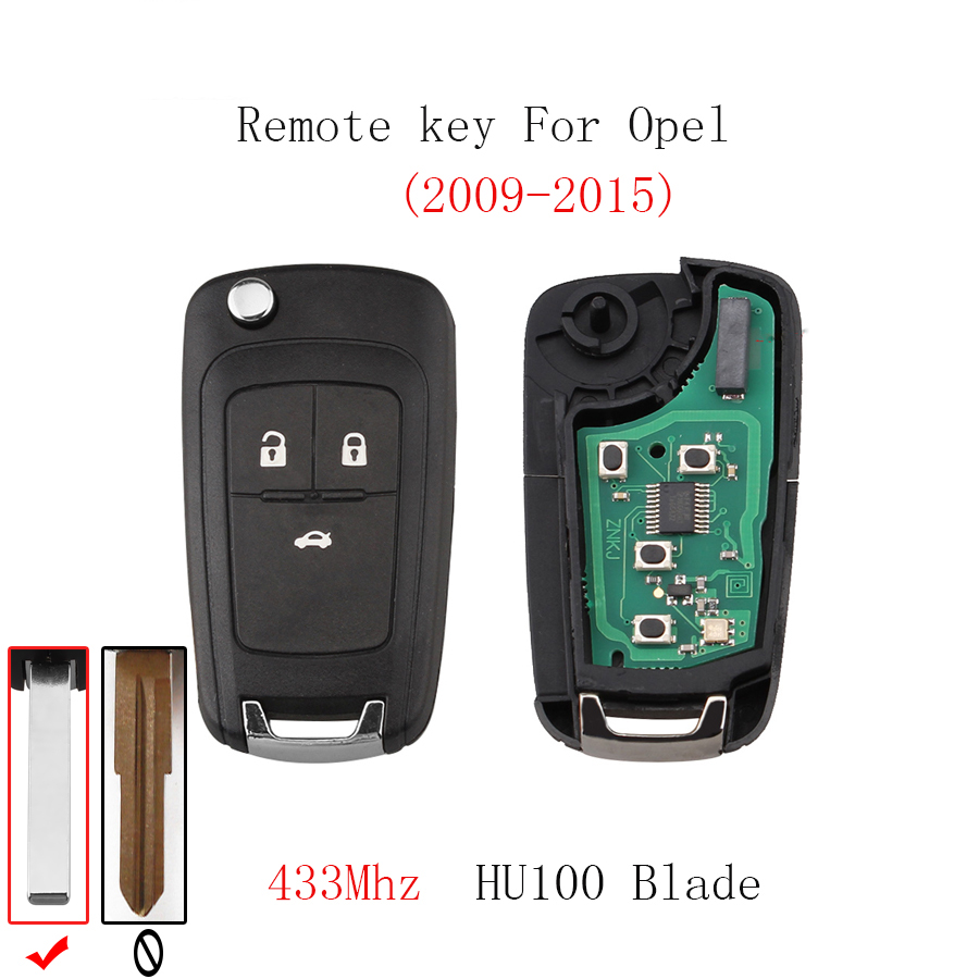 2pcs*3BT Remote key For Opel Vauxhall Astra J Corsa E Insignia Zafira C 2009-2016 Transponder Chip ID46 Original key HU100 Blade