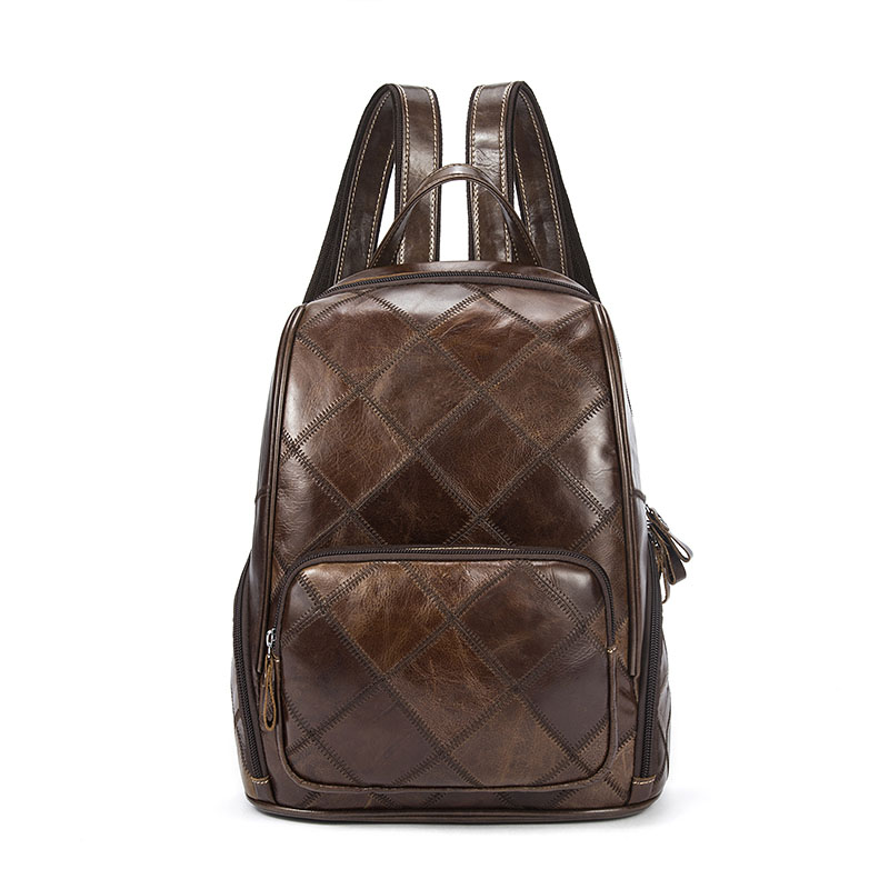 Brand Women Backpack Genuine Leather High Quality School Bags Female Plaid Backpack Casual Shoulder Bag Leather For Teenager 2016 women designer leather backpack bag classic plaid pattern black fashion backpack shoulder bags school bags hb 376