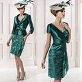 Verde de encaje a corto de la madre de novia vestidos con la chaqueta 3/4 mangas cinturón de lazo Vestido Mae Da Noiva M29