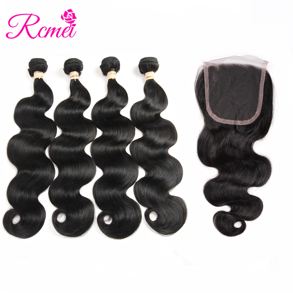 Rcmei Hair Brazilian Body Wave 4 Bundles With Closure 4*4 Lace Closure Brazilian Hair Weave Bundles With Closure Human Remy Hair