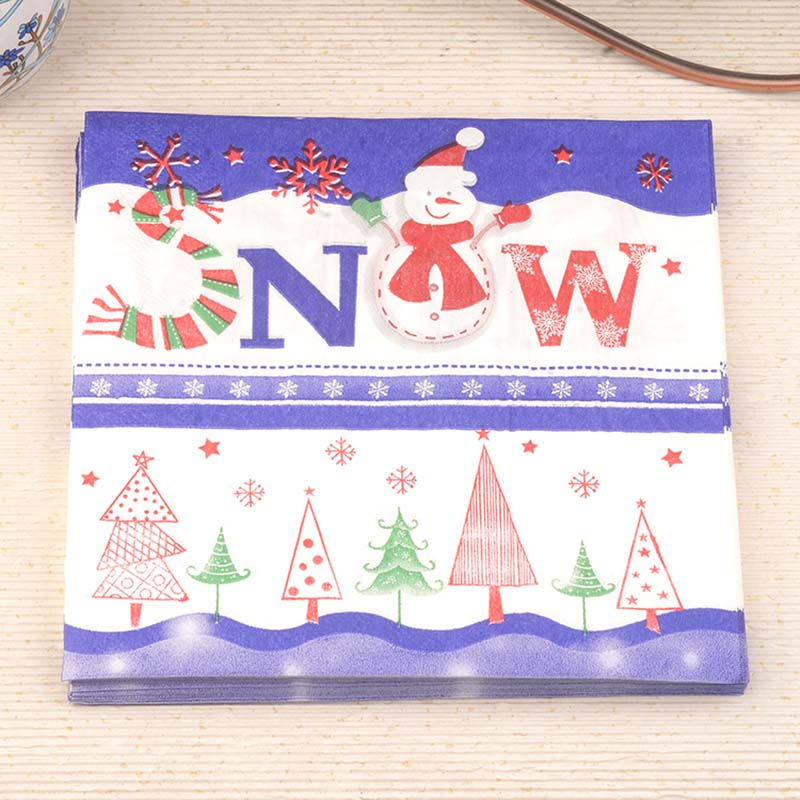 33*33cm 20 PCS/Pack Snowman Christmas tree Paper Napkin Party 100% Virgin Wood Paper Napkin for party dinner decoration