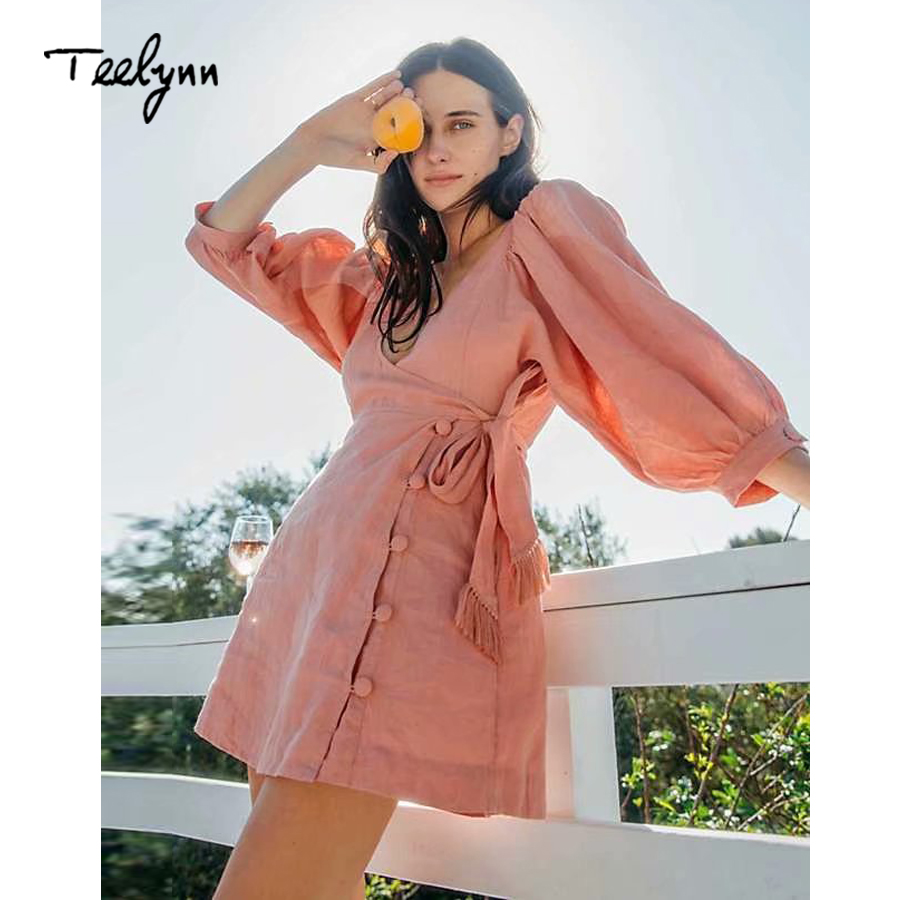 TEELYNN boho mini Dress for women cotton pink solid wrap dresses sexy v Neck adjustable sashes waist Bohemia women dress robe