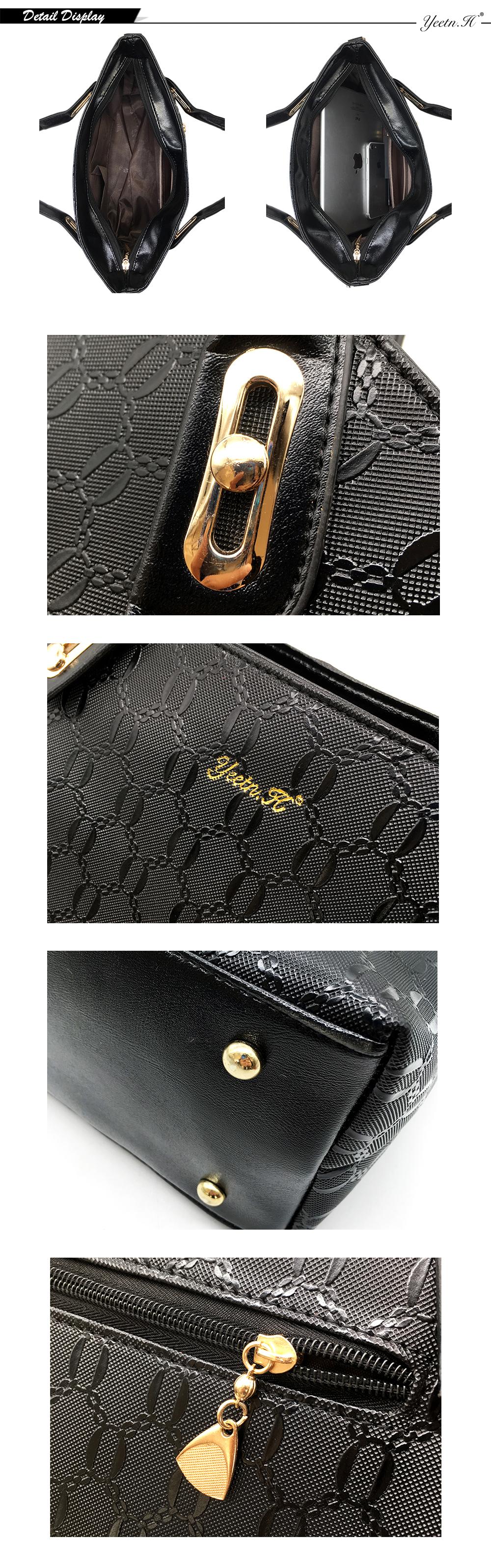 Yeetn.H Women 4 Set Handbags Pu Leather Fashion Designer Handbag Shoulder Bag Black Vintage Female Messenger Bag Sac A Main M129 4