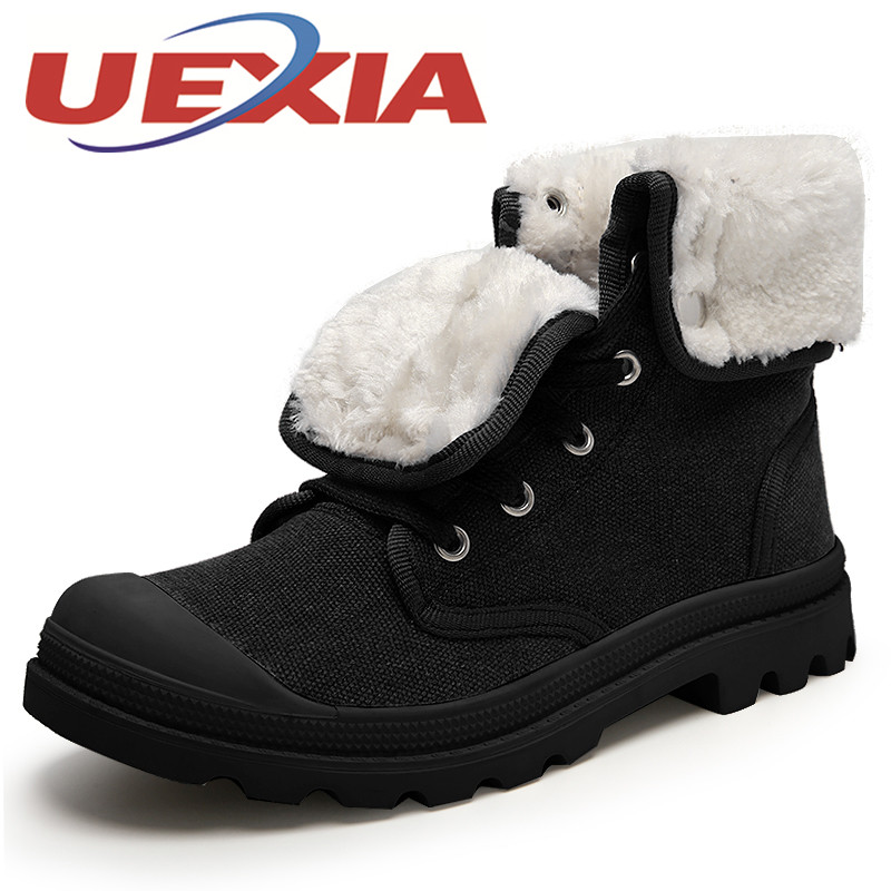 Unisex Winter Boots Fashion High Top Warm Shoes Mens Outdoor Casual Canvas Ankle Boots Female Flat Plush Work Boots Size 35-44 men ankle boots women casual shoes breathable fashion cushioning soles high top lovers outdoor shoes size 35 44 b2299