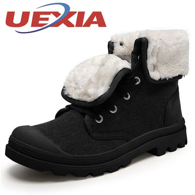 Men Winter Plush Warm Shoes Fashion Canvas Outdoor Work Ankle Snow Plus Boots Flat