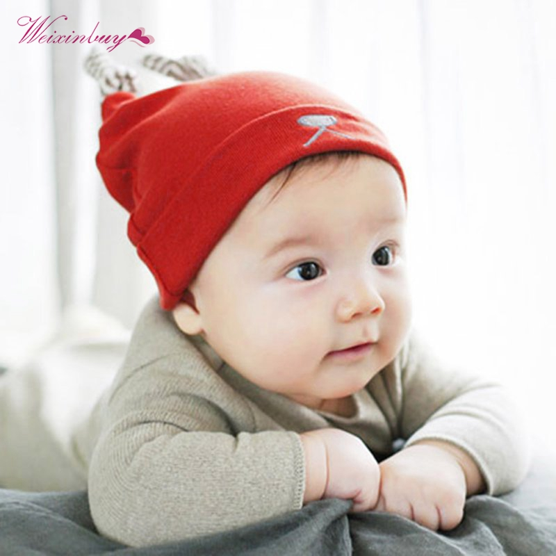 3-12 months Baby Skullies Beanies Boys Girls Cute Ears Hat Blue Red Soft Cotton Caps