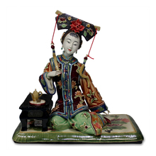 Antique Chinese Lady Ceramic Statue Jinshan Pure Manual Figure Craft Collectible Porcelain Figurine Christmas Vintage Home Decor