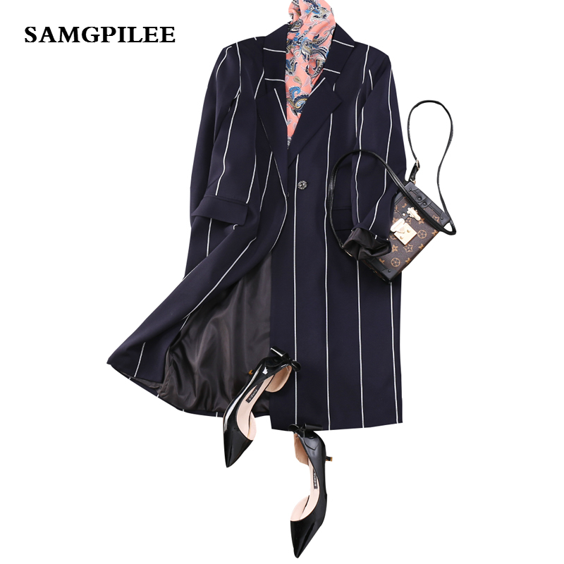 Blazer Feminino 2019 New Spring Full Sleeve Long Striped Single Button Notched Appliques Casual Fashion Women Blazers L-3xl