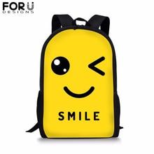 FORUDESIGNS Smile Printing School Bag for Kids Girl Boy Emoji Yellow Backpack Preppy Bolsa Youth Child Bookbag Mochila Satchel