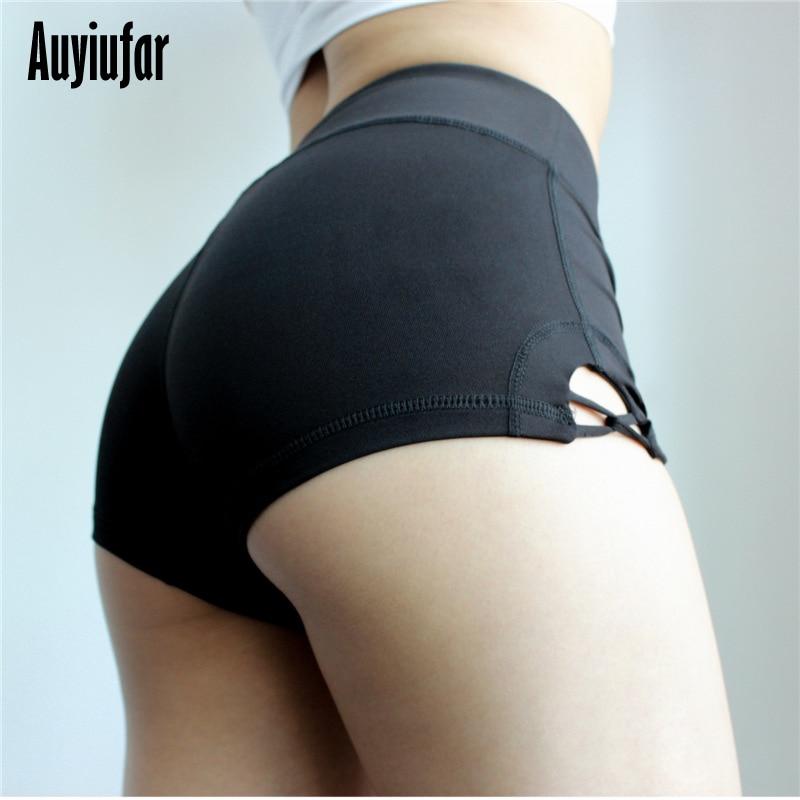 Anyiufar Black Women's Shorts Side Cross Workout Sporty Female Ladies New Shorts Pole Dance Fitness Booty Spandex Women Short