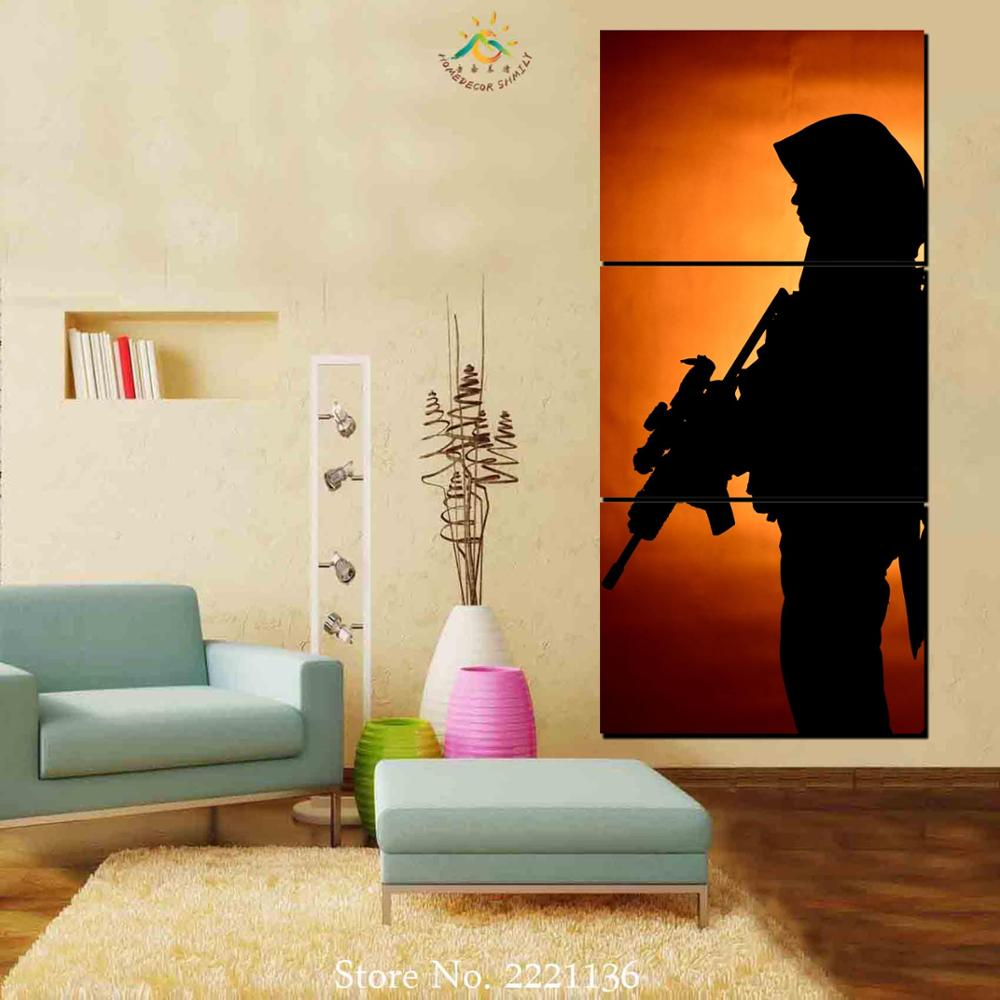 3 pieces standing cool sharpshooter large canvas art wall pictures canvas prints artwork home decoration for wall pictures in painting calligraphy from