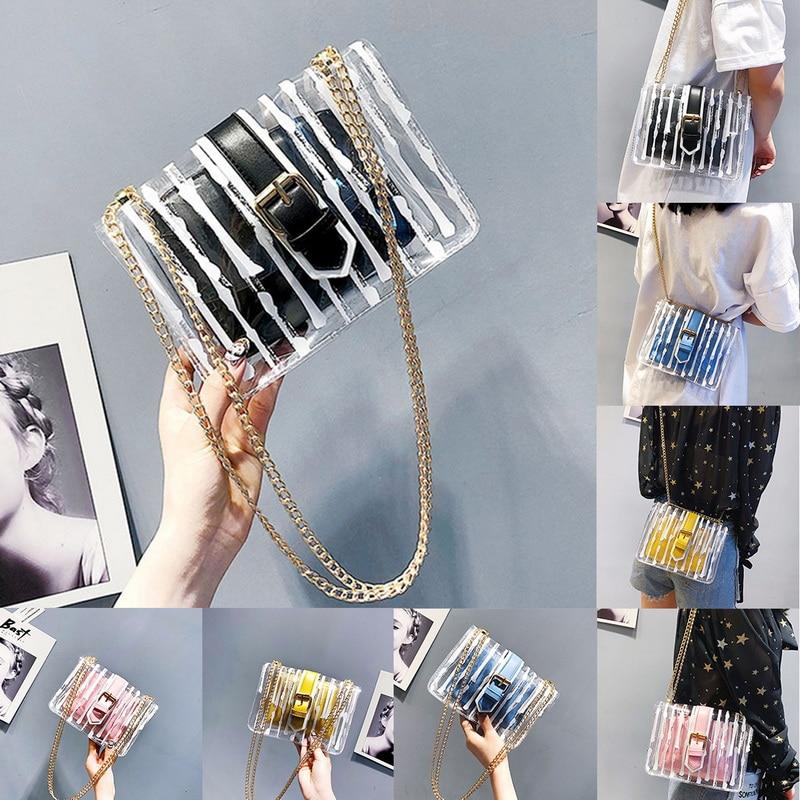 Litthing Striped  Transparent PVC Women Messenger Crossbody Bag Chain Candy Color Jelly Summer Beach Handbag 2019