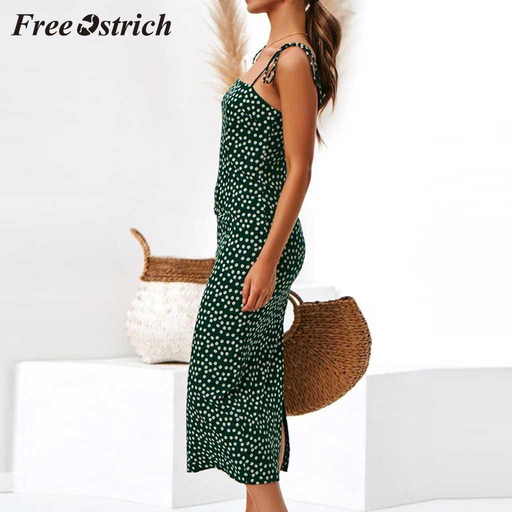 Free ostrich 2019 verde azul Sexy moda mujer damas entretejido abierto con cordones cremallera Dot estampado Casual elegante vestido ligero