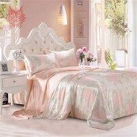 Чистый шелк тутового шелкопряда Комплект постельного белья 19 Mommie ткань King size пододеяльник плоский лист наволочка роскошный голый спальный