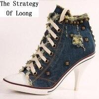 קיץ לנשים בסגנון קוריאני דק גבוהים עד תחרה העקב גבוהה למעלה מסמרות אופנה רוכסן צד נעלי ג 'ינס מזדמן גודל 34-41 SXQ1012