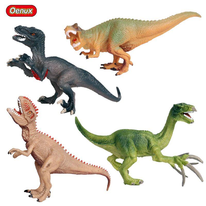 Oenux 4pcs/set Jurassic Dinosaur Carnivorous Raptor Velociraptor T-REX Model Action Figure Classic Dinosuars Brinqued Toy Gift