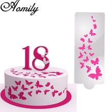 Cake Stencil Airbrush Art-Mold Aomily Decorating-Tool Painting Cookies Plastic Butterfly