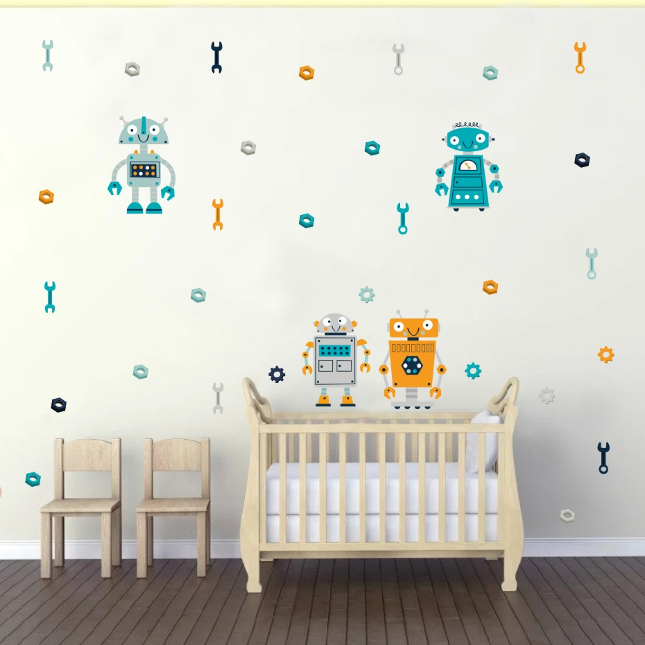 Cartoon Four Robots Wall Sticker Cute Kids Bedroom Decorative Decals Modern Decoration For The House Art Murals Vinyl Wallpaper  (4)