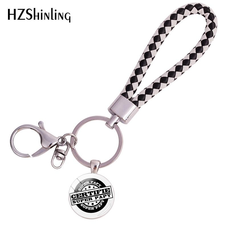 2018 New Certifie Super Papy Leather Rope Keyring Glass Cabochon Keychains Gifts Art Fashion Quote Strap Keyrings