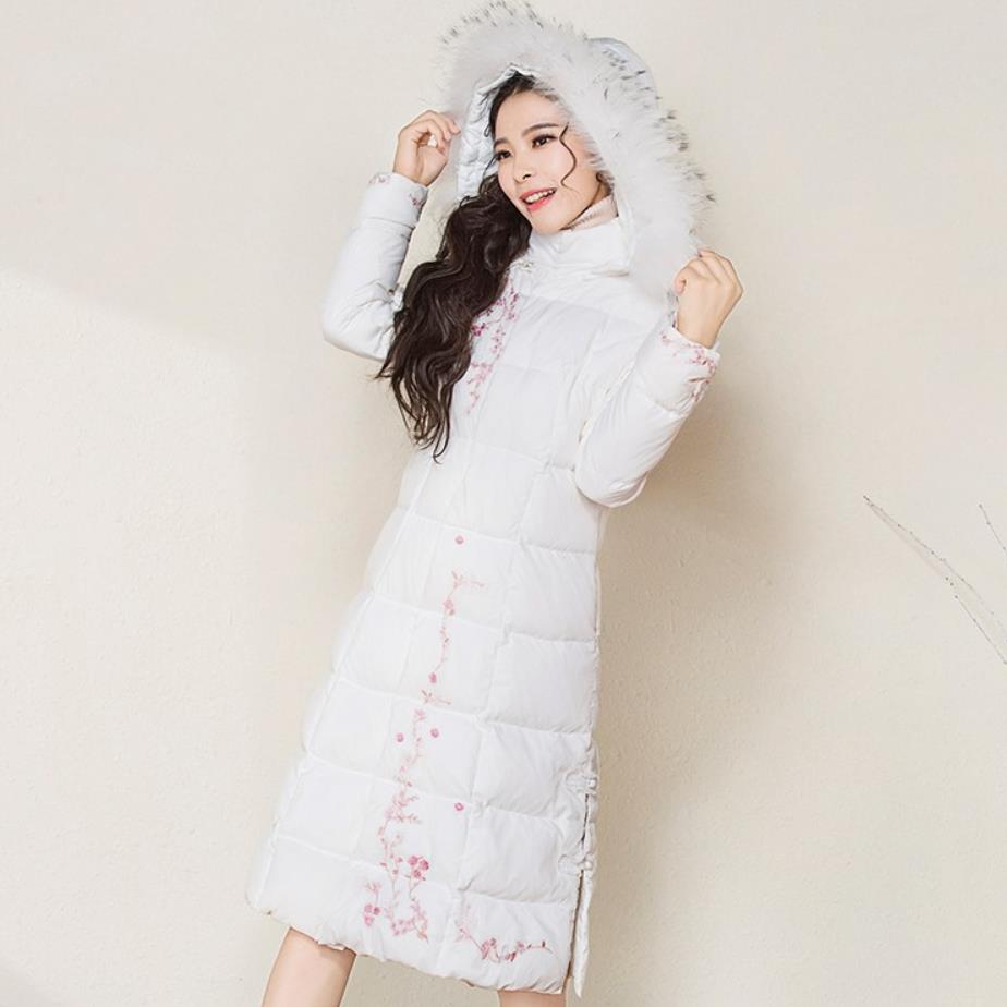 Plus Size 3XL Women Fashion Embroidered hooded Fur Collar vintage slim white duck Down coat