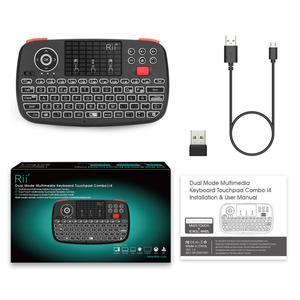 Image 3 - Rii i4 ספרדית מיני מקלדת Bluetooth 2.4G הכפול מצבי כף יד שחיף עם תאורה אחורית עכבר Touchpad שלט רחוק עבור מחשב אנדרואיד