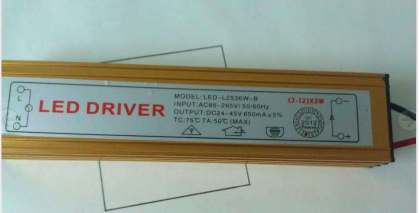 1PCS resell Constant Current Driver for 12 pcs 3W High Power LED 7-12x waterproof free shipping+2 years warranty