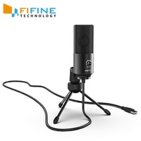 Fifine USB Condenser game Microphone For Laptop Windows Studio Recording Built in sound card