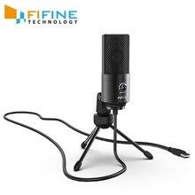 Fifine micrófono USB de condensador para ordenador portátil, dispositivo para grabación de estudio con tarjeta de sonido integrada, Windows